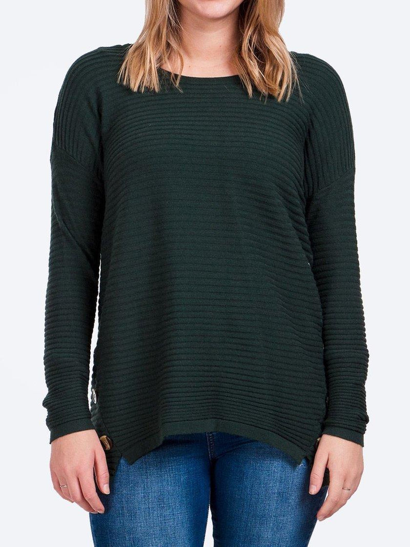 Yeltuor - CAROLINE K MORGAN PTY LTD - Knitwear - CAROLINE K MORGAN BUTTON DETAIL RIB JUMPER - DARK GREEN -  8
