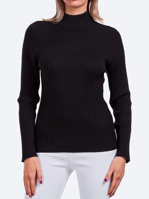 Yeltuor - CAROLINE K MORGAN PTY LTD - Knitwear - CAROLINE MORGAN RIBBED POLO NECK KNIT TOP - Black -  8