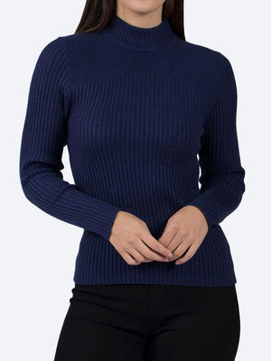 Yeltuor - CAROLINE K MORGAN PTY LTD - Knitwear - CAROLINE MORGAN RIBBED POLO NECK KNIT TOP - NAVY -  8