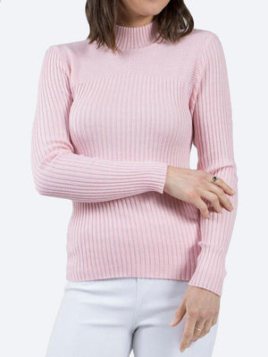 Yeltuor - CAROLINE K MORGAN PTY LTD - Knitwear - CAROLINE MORGAN RIBBED POLO NECK KNIT TOP - DUSKY PINK -  8