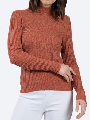 Yeltuor - CAROLINE K MORGAN PTY LTD - Knitwear - CAROLINE MORGAN RIBBED POLO NECK KNIT TOP - RUST -  8