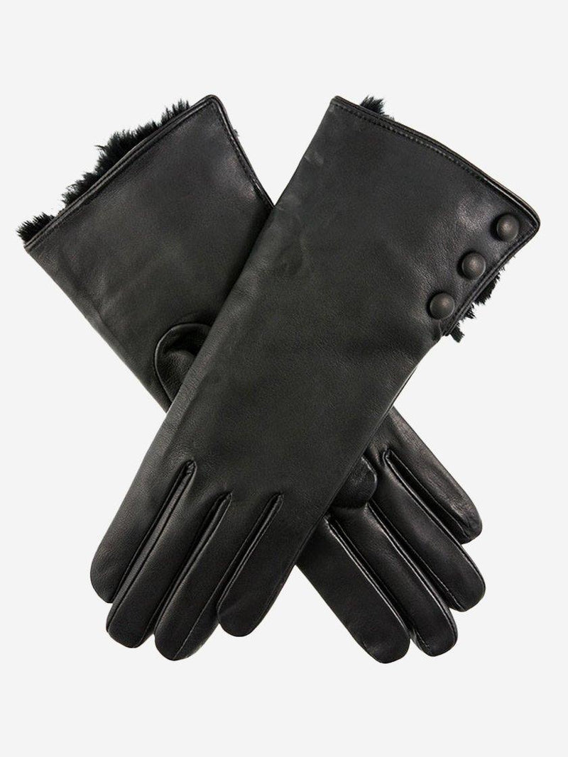 DENTS SOPHIE WOOL LINED FUR TRIM LEATHER GLOVES