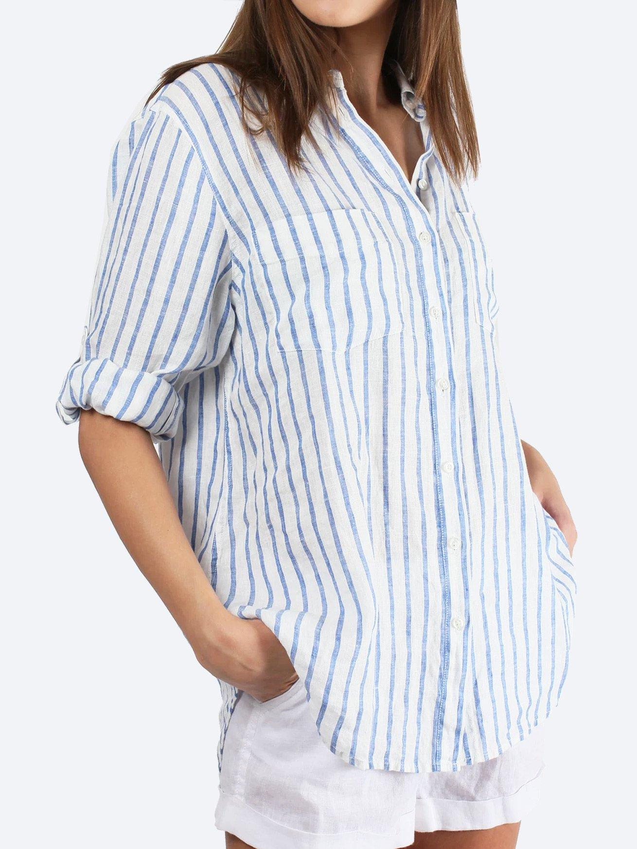 HUT LINEN BOYFRIEND SHIRT STRIPE
