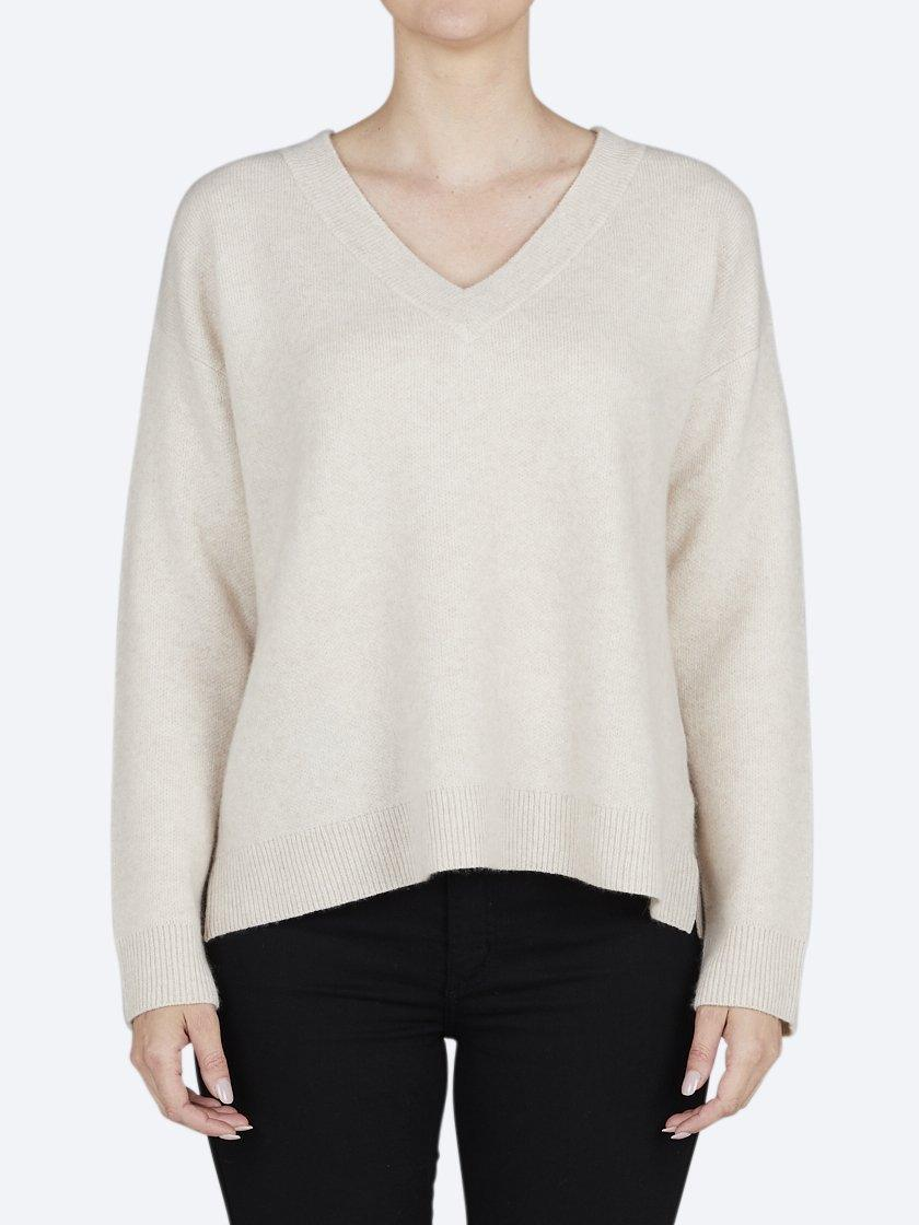 JAMES MELBOURNE CASHMERE/WOOL RIB V-NECK