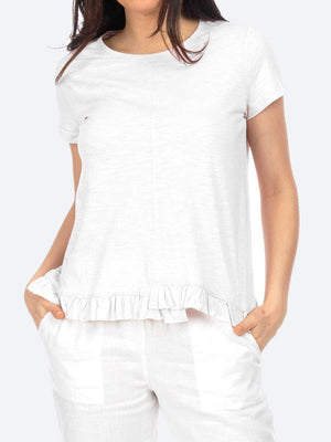 JUMP SHORT SLEEVE RUFFLE HEM TEE - ORGANIC COTTON