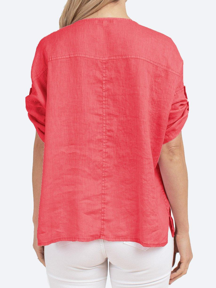 JUMP TAB SLEEVE LINEN TOP