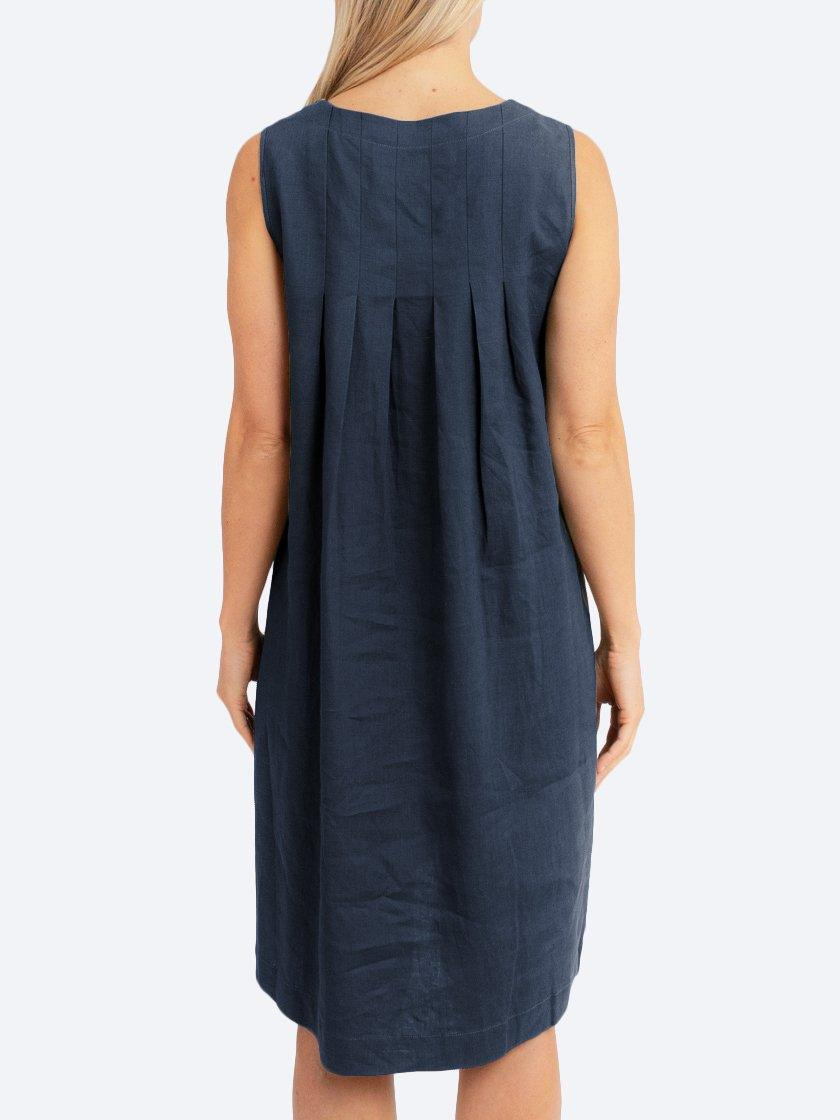JUMP PLEAT BACK LINEN DRESS