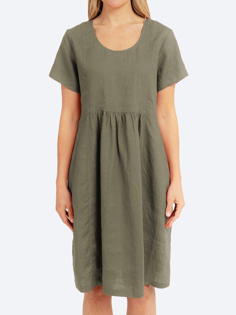 JUMP GATHER LINEN DRESS