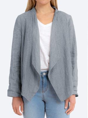 JUMP STRIPE WATERFALL LINEN JACKET
