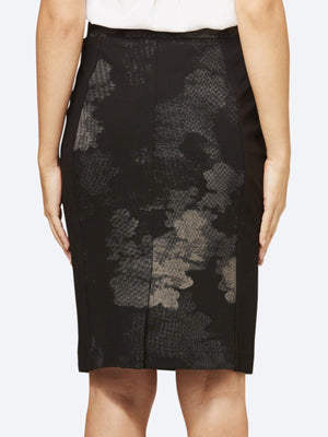 LAYER'D PRINT PONTE SPLICE SKIRT