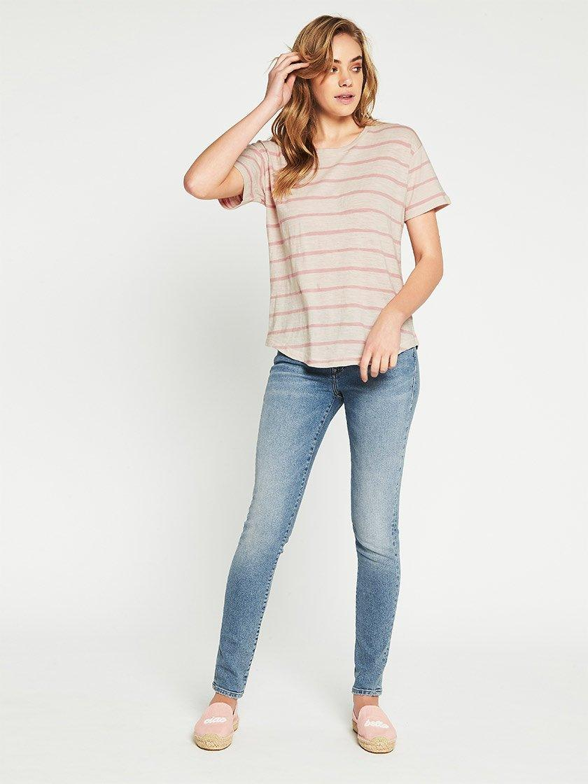MAVI BECKY TEE IN TURTLE DOVE/ROSE STRIPE-Tops-MAVI JEANS-ENNI