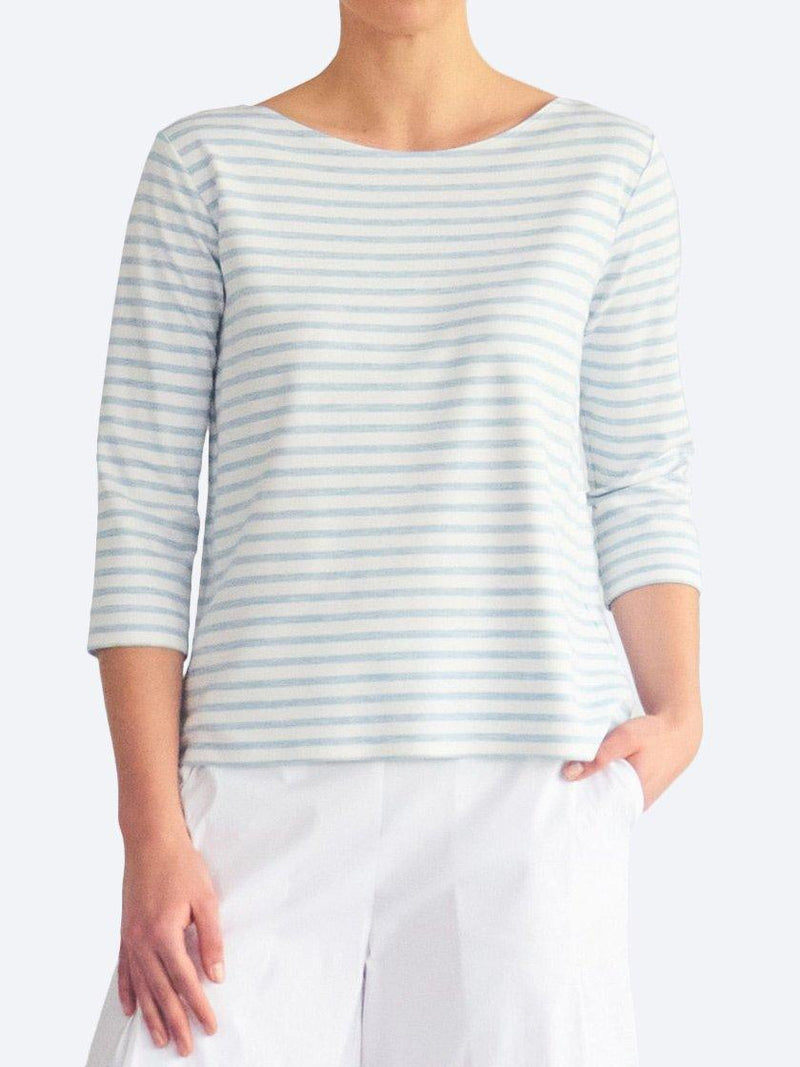 MELA PURDIE STRIPE RELAXED BOAT NECK - COMPACT KNIT