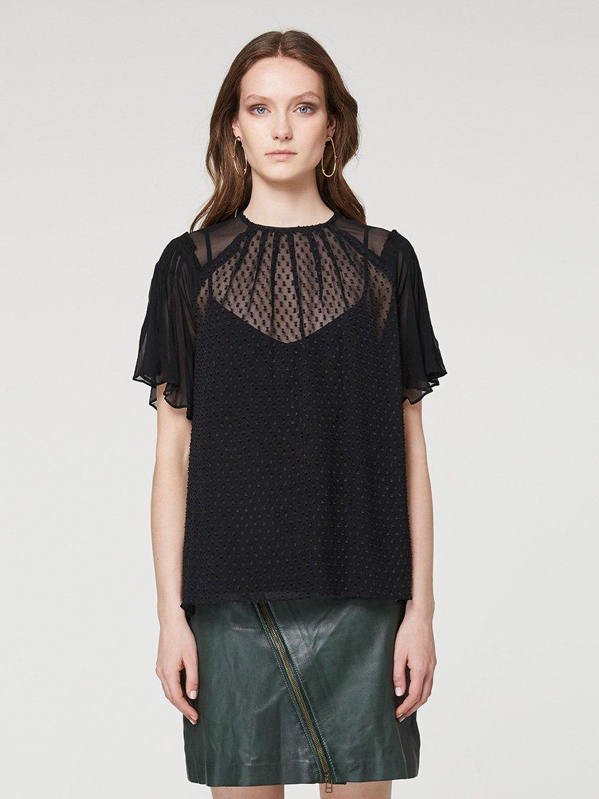 Yeltuor - ONCE WAS - Tops - ONCE WAS BERKELEY PLEAT DETAIL SILK JACQUARD CHIFFON TOP -  -