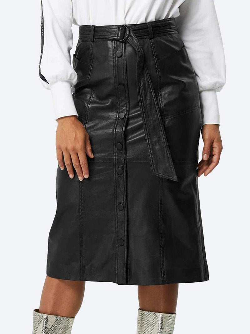 Yeltuor - ONCE WAS - Skirts - ONCE WAS COGNITION LEATHER MIDI SKIRT - Black -  1