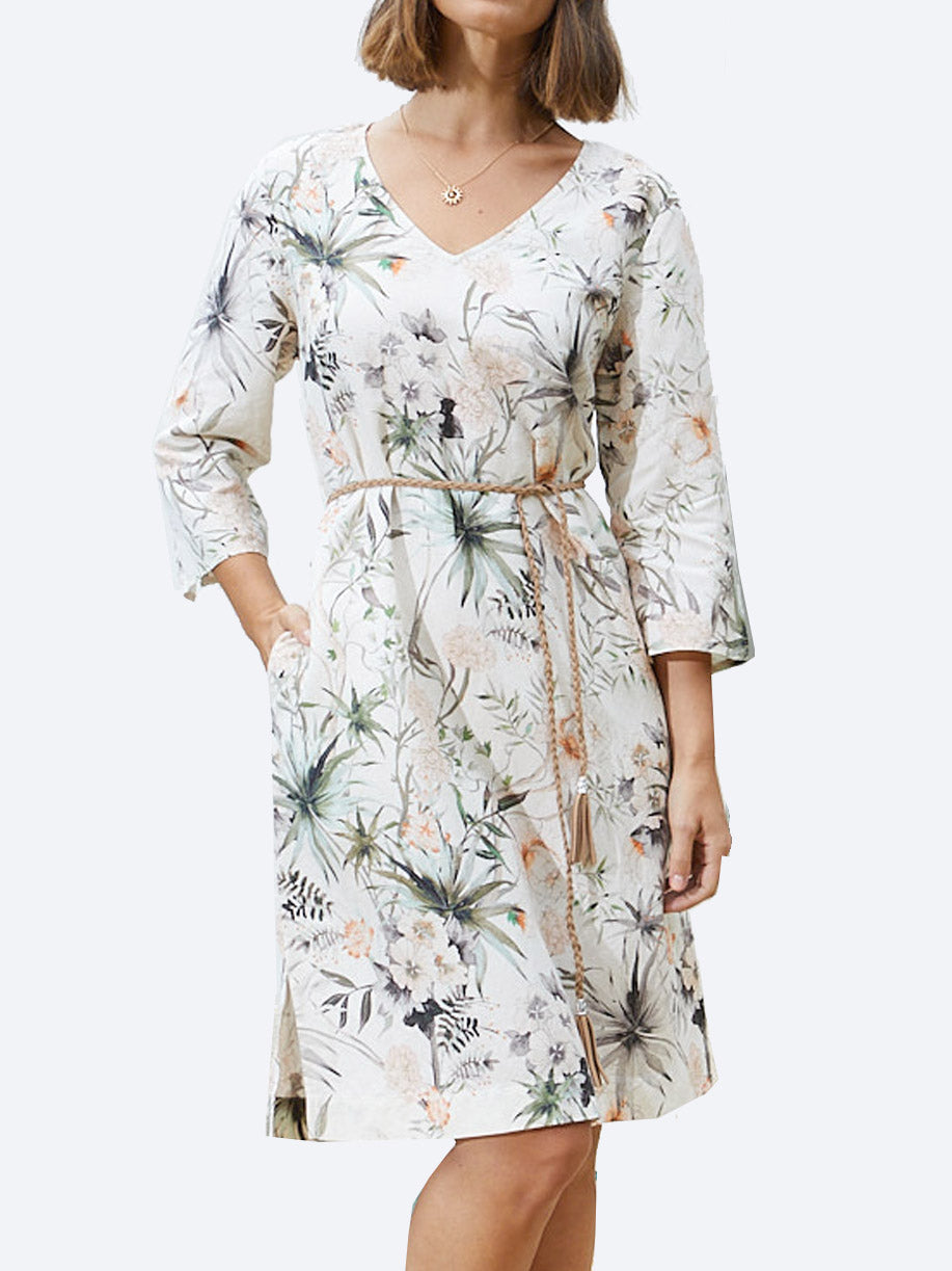 PING PONG BOTANICAL LINEN DRESS