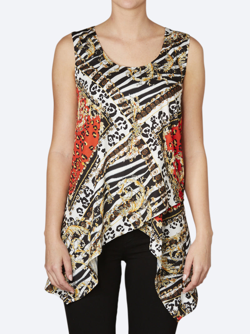 PING PONG SCARF PRINT TOP