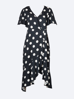 PING PONG SPOT WRAP DRESS