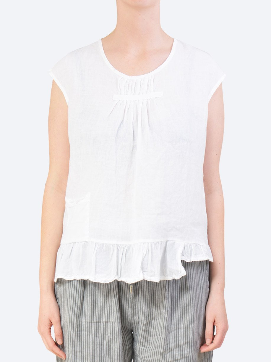 Yeltuor - TALIA BENSON - Tops - TALIAN BENSON LINEN TUCKS AND FRILL TOP - WHITE -  S