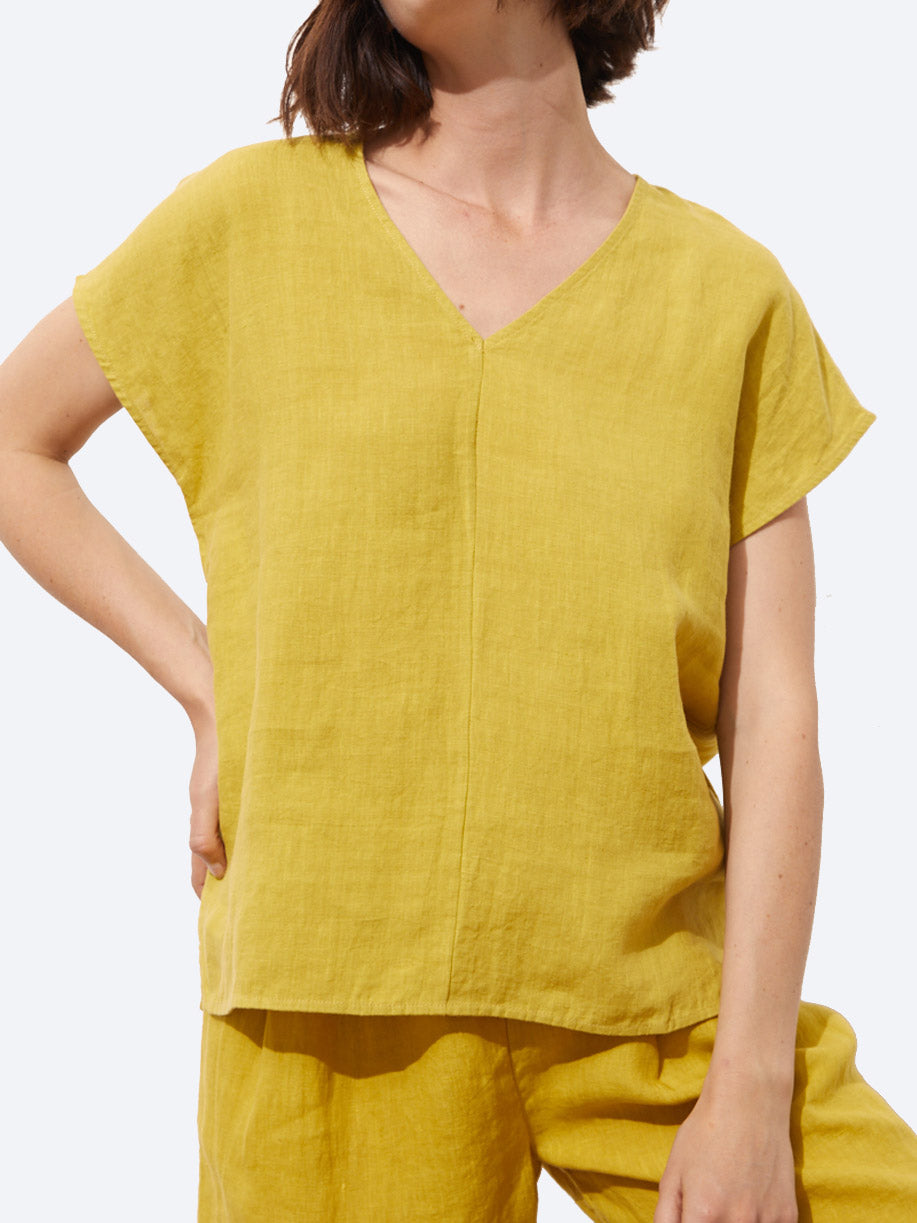 TOORALLIE BREAKWATER LINEN V TOP
