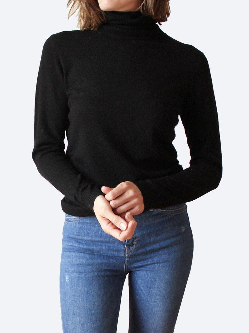 BRIDGE & LORD MERINO/CASHMERE ROLL NECK JUMPER