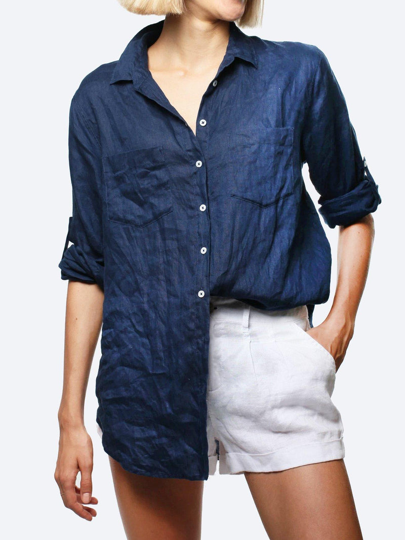 HUT LINEN BOYFRIEND SHIRT