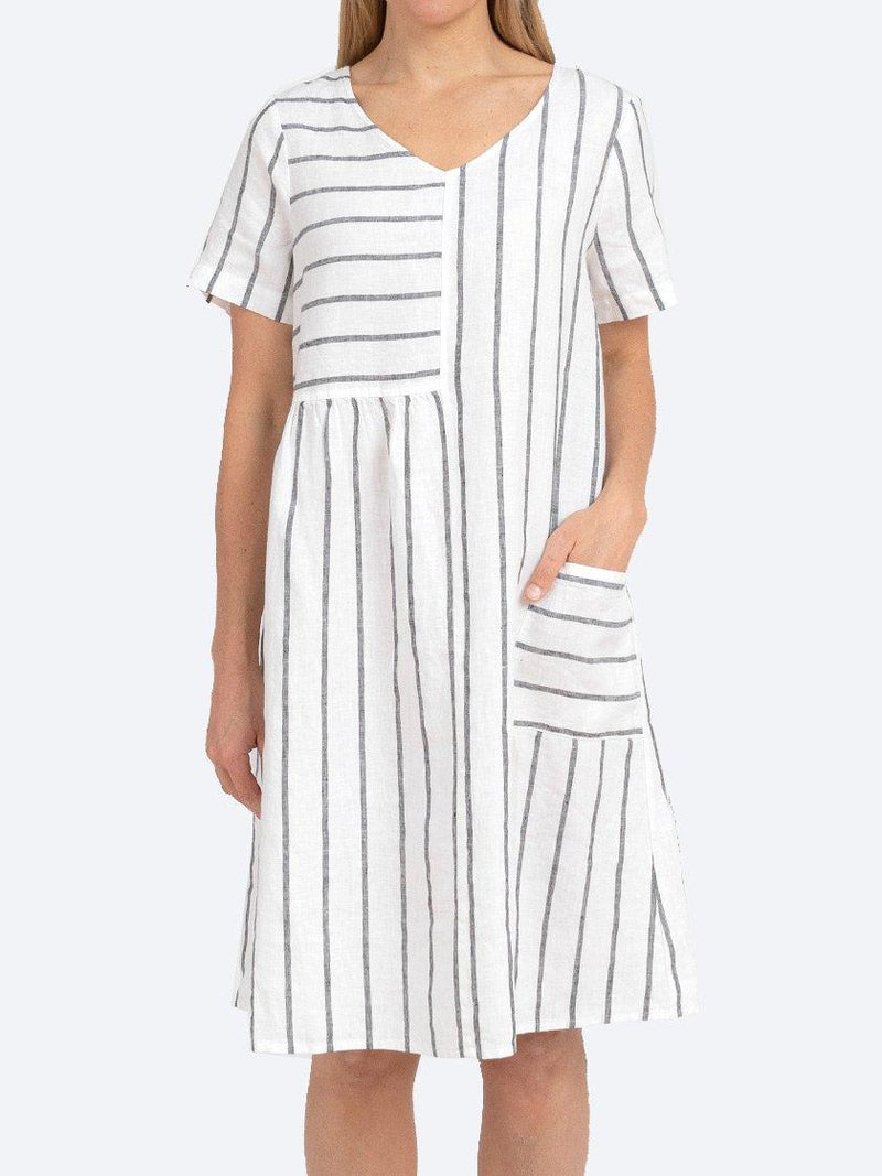 JUMP WIDE STRIPE LINEN DRESS