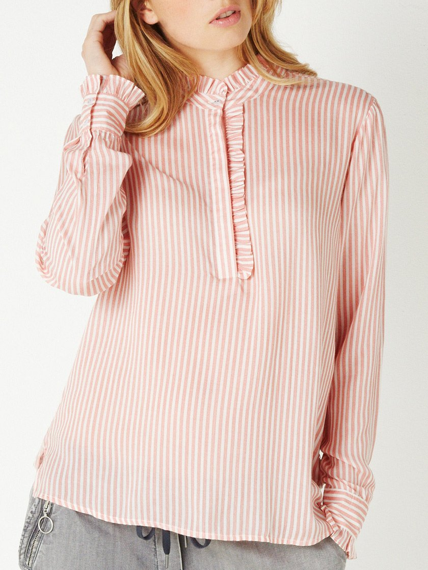 SANDWICH STRIPE FRILL SHIRT