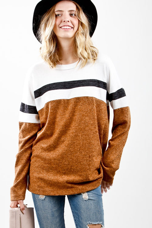 Cinnamon Striped Color Block Top