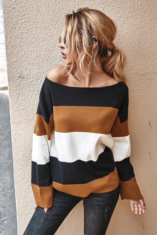 Camel Color Block Boat Neck Top