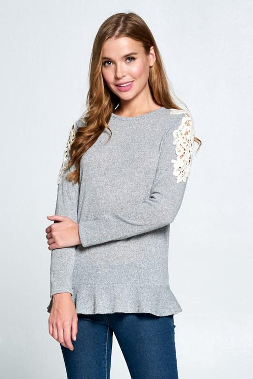 Long Sleeve Crochet Trim Top