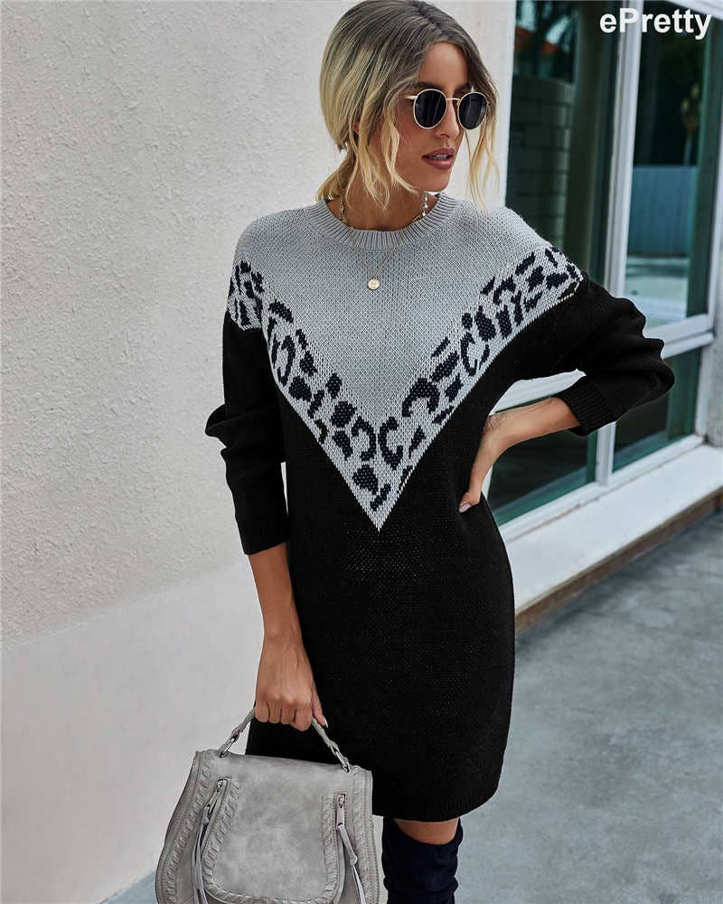 Grey & Black Leopard Sweater Dress