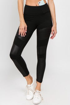 Faux Leather Motto Leggings