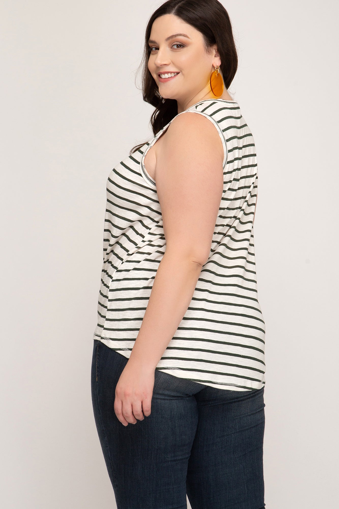 Curvy Sleeveless Knit Striped Top