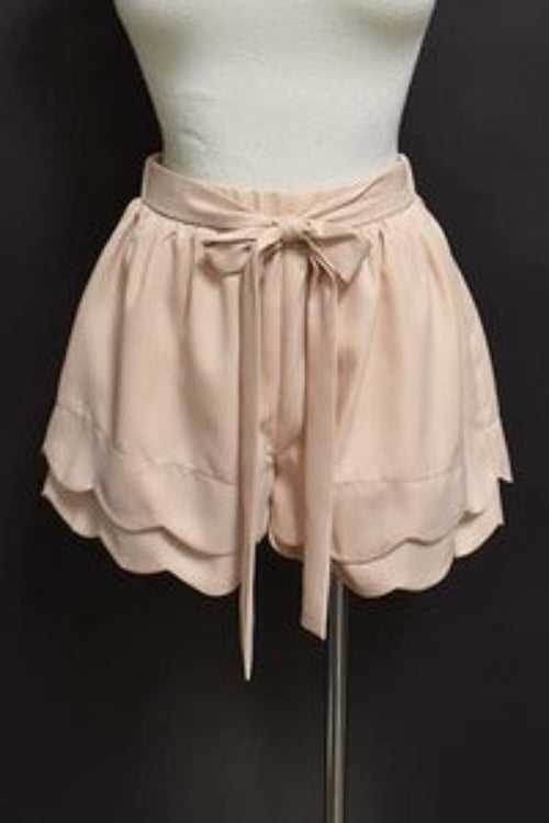 Beige Scalloped Shorts