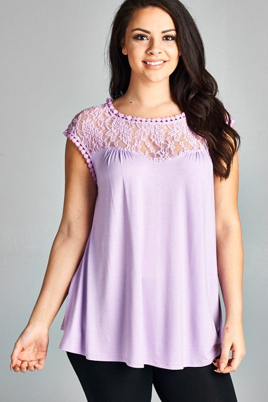 Curvy Lace Trim Tunic