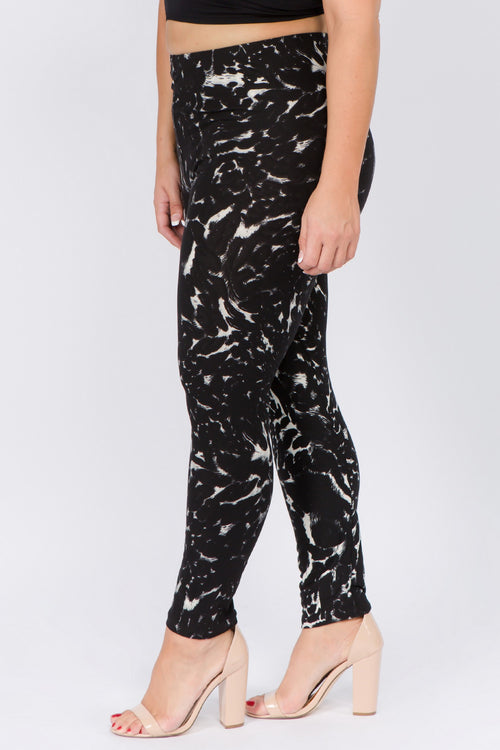 Curvy Black Animal Print  Leggings
