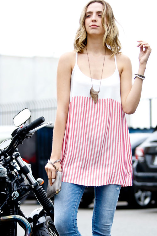 Spaghetti Strap Red Stripe Top