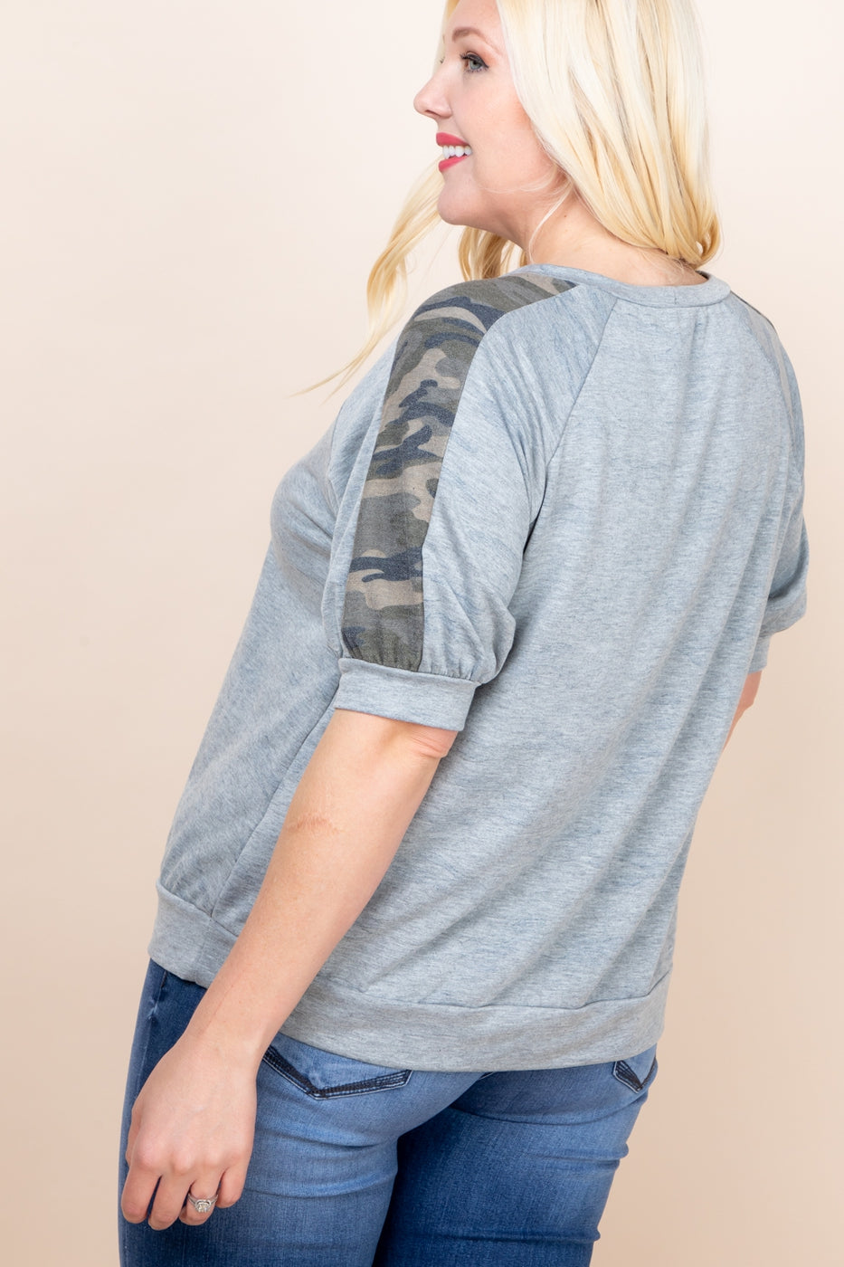 Curvy Grey Camo Top