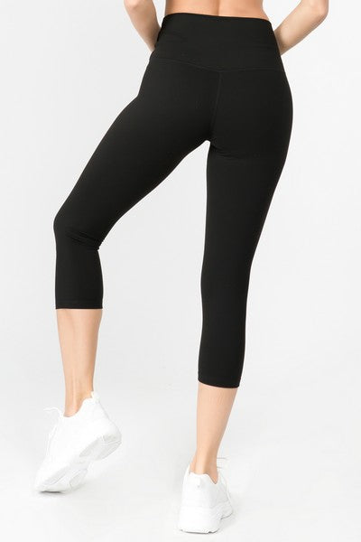Black High Rise Buttery Soft Capri Leggings