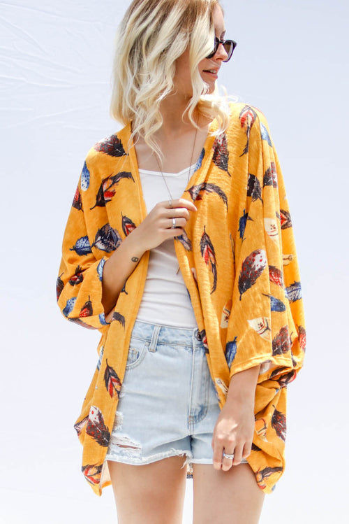 Mustard Feather Print Cardigan