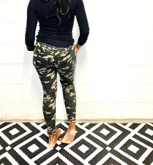 Camo Mid Rise Ankle Jeans