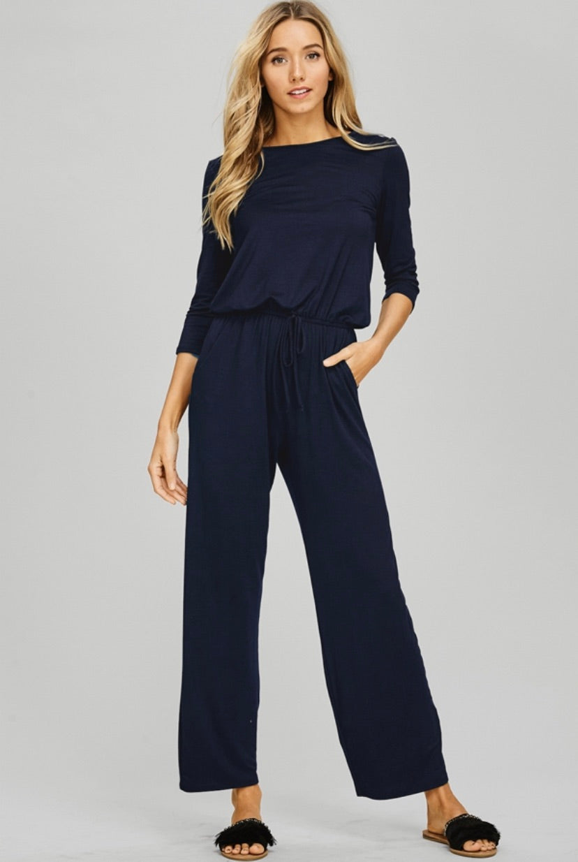 Navy Curvy Relaxed Jumpsuit