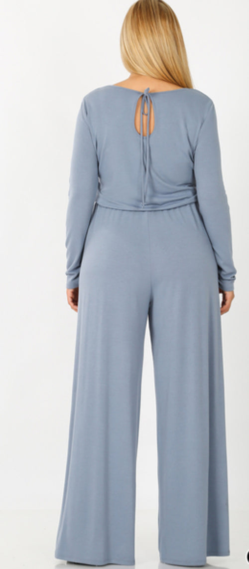 Curvy Long Sleeve Jumpsuit