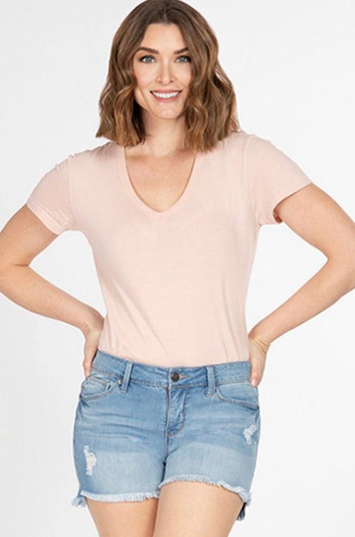Mid Rise High Low Hem Shorts