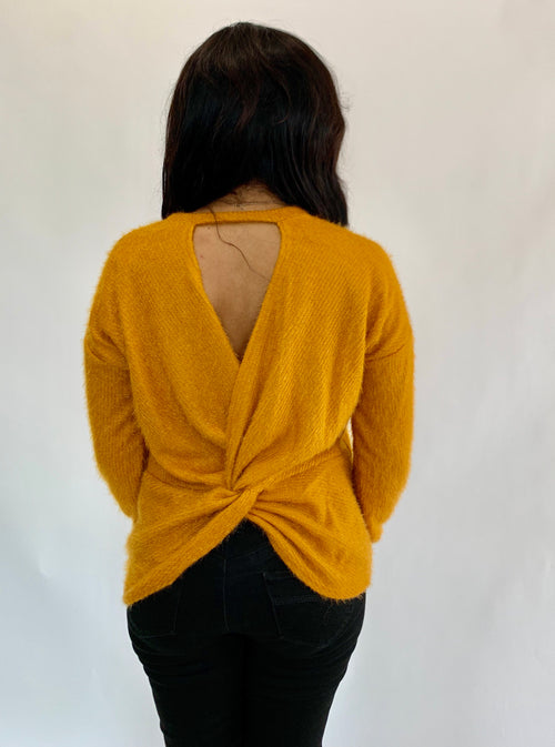 Mustard Twist Cutout Sweater