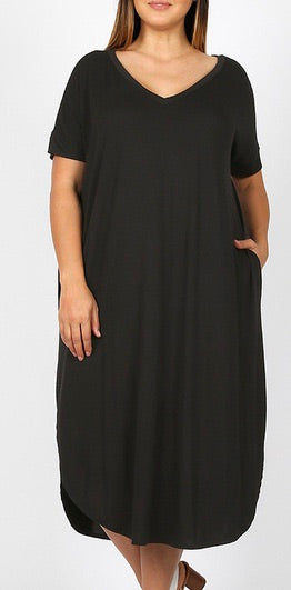 Curvy Basic V Neck Dress