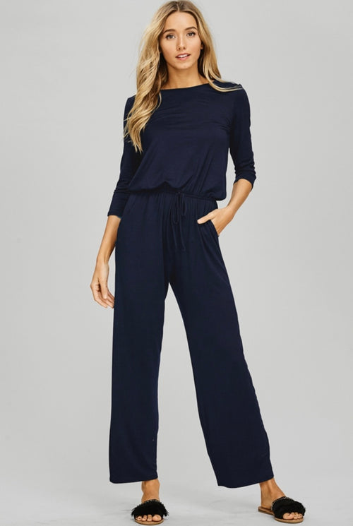 Navy Misses Relaxed Jumpsuit