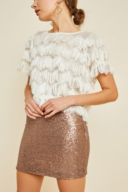 Bronze Sequin Mini Skirt