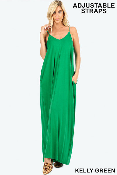Green Cami Maxi Dress