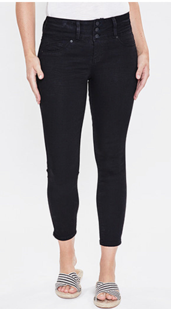 Black 3 Button Denim Skinny Jeans
